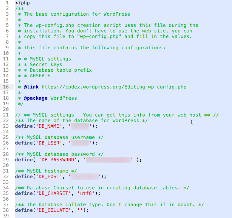 wp-config-file sample